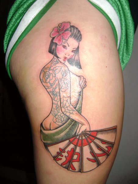 Japanese Pin Up Girl With Fan Tattoo On Upper Thigh