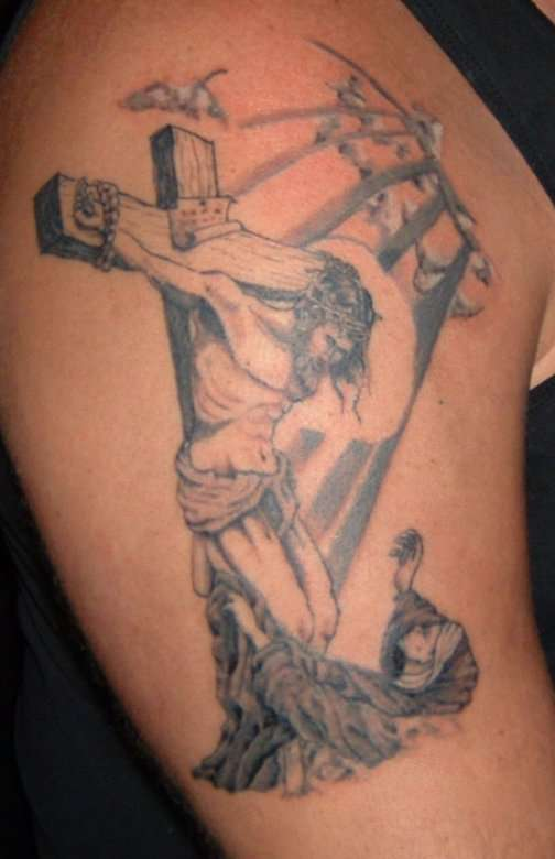 Jesus On Cross And People Tattoos