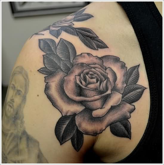 Jesus Portrait And Grey Rose Tattoos