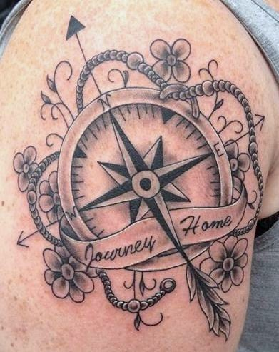 Journey Home Nautical Compass And Flower Tattoos On Biceps