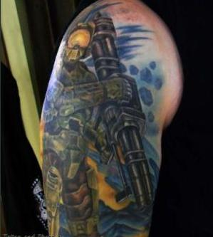 Justin Halo 3 Master Chief Tattoo On Sleeve