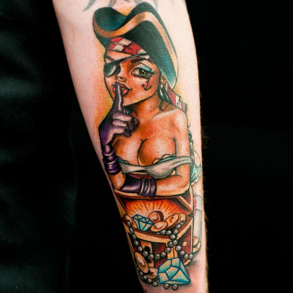 Keep Quiet - Pin Up Girl Tattoo