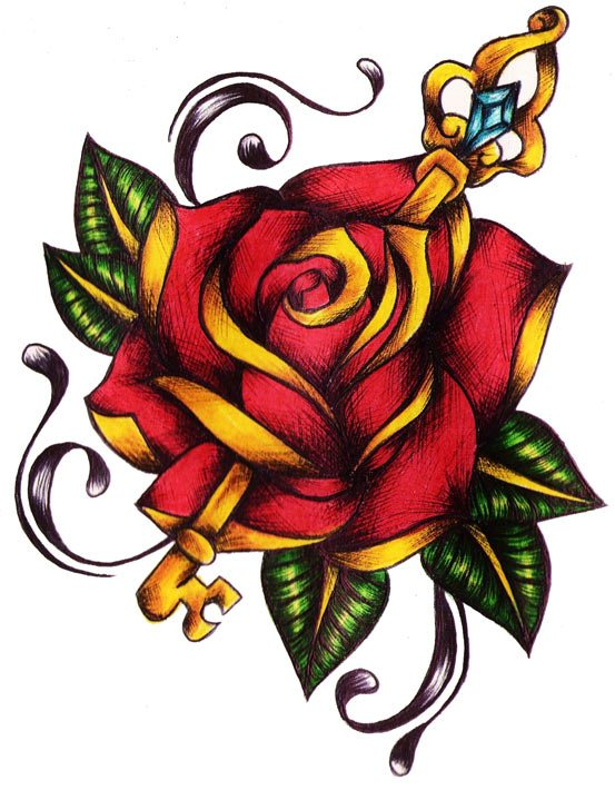 Key Through Red Rose Tattoo Design