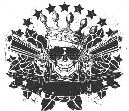 King Skull And Black Pistols Tattoo Sample