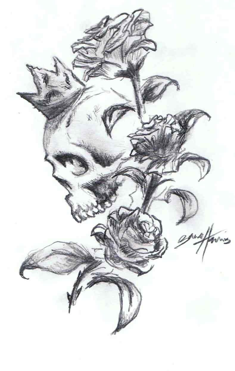 King Skull And Roses Tattoos Sketch