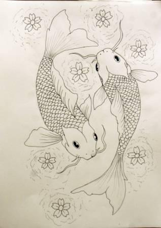 Koi Fish Pisces And Blossoms Tattoos Sketch