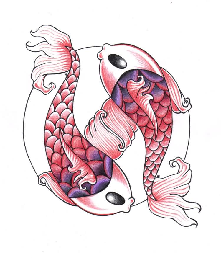 Koi Fish Pisces Sign Tattoo Design