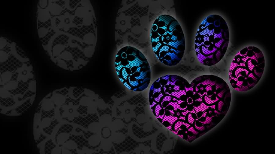 Lace Heart Paw Print Tattoo