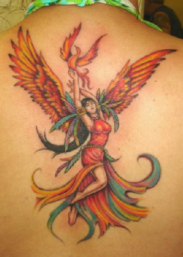 Lady With Phoenix Wings Tattoo On Back