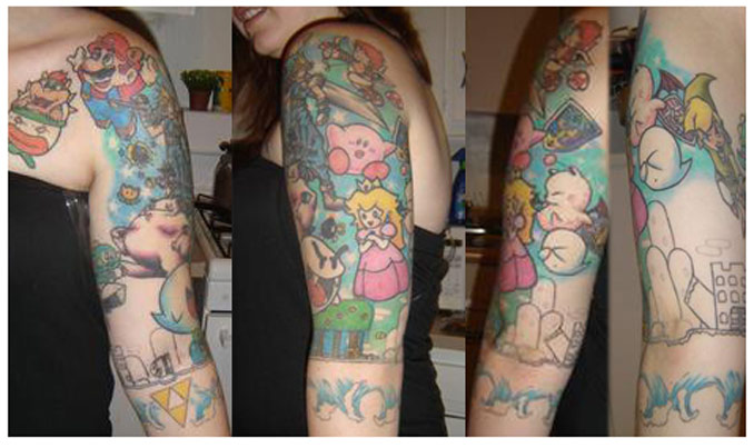 Lady With Video Game Sleeve Tattoos
