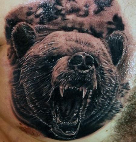 Large Angry Screaming Bear Tattoo On Chest