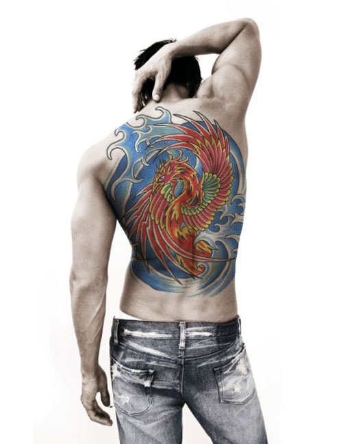 Large Blue Waves And Red Phoenix Tattoos On Back