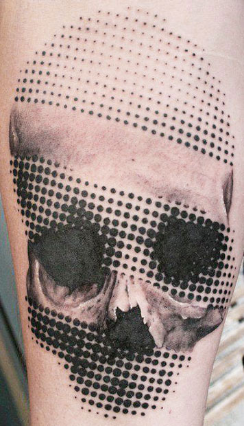 Large Dots Skull Tattoo