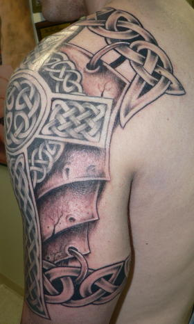 Large Grey Celtic Cross Tattoo On Left Arm