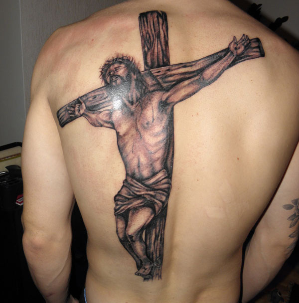 Large Grey Christ Cross Tattoo On The Back