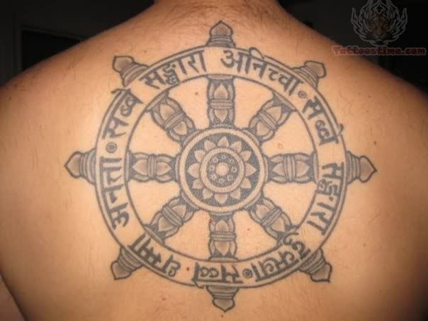 Large Grey Ink Buddhist Symbol Tattoo On Back