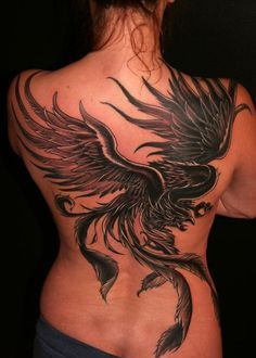 Large Grey Phoenix Tattoo On Backbody