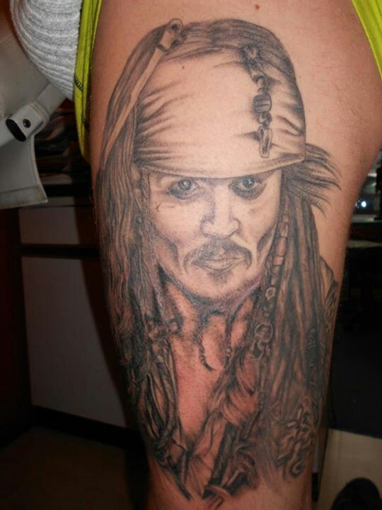 Large Grey Pirate Of The Carribean Tattoo On Leg