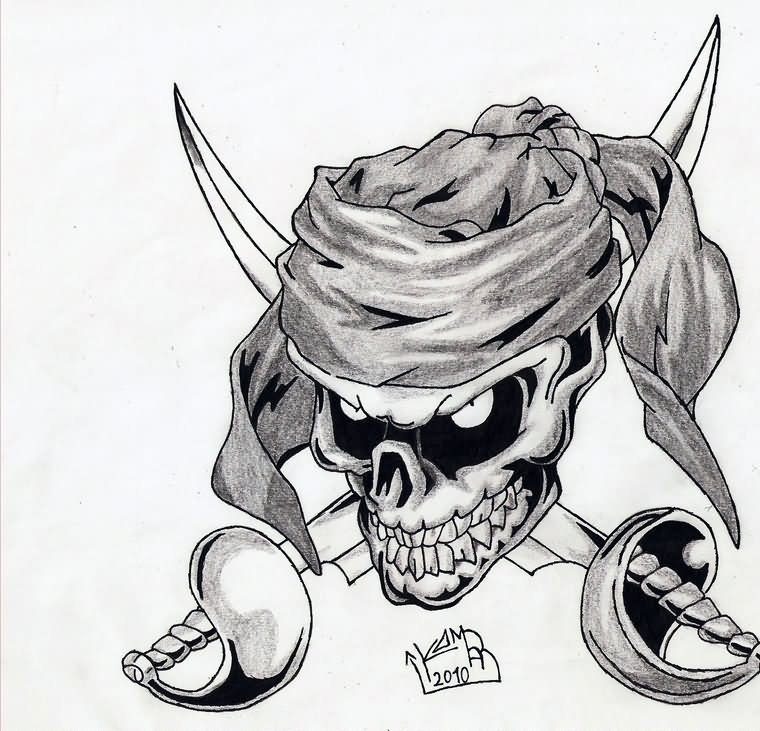Large Grey Pirate Skull Tattoo Design