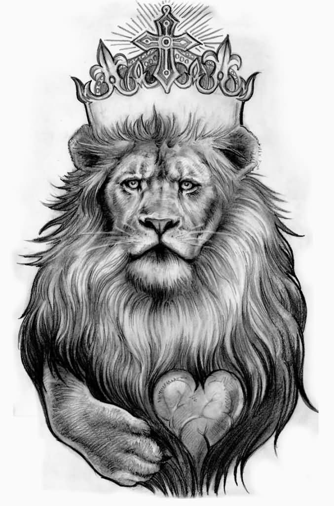 Large King Lion With Heart Tattoo Design