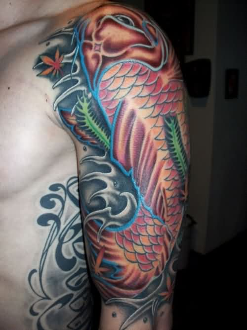 Large Koi Fish On Waves Tattoo On Arm