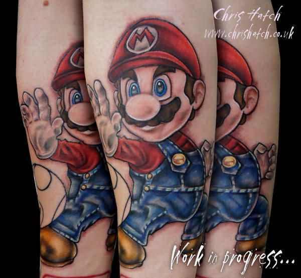 Large Mario Arm Tattoos