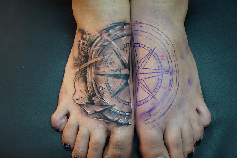 Large Nautical Compass Feet Tattoos