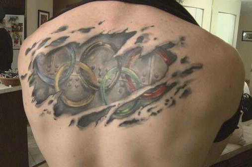 Large Olympic Rings Tear Skin Tattoo On Back