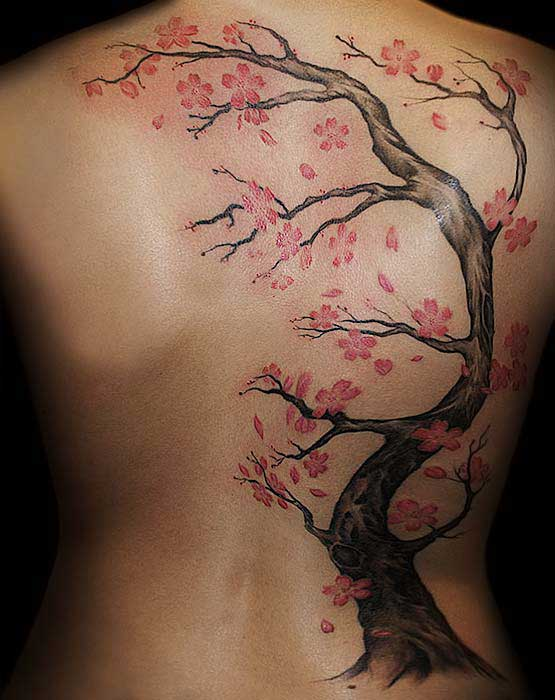 Large Original Cherry Blossom Tree Tattoo On Back