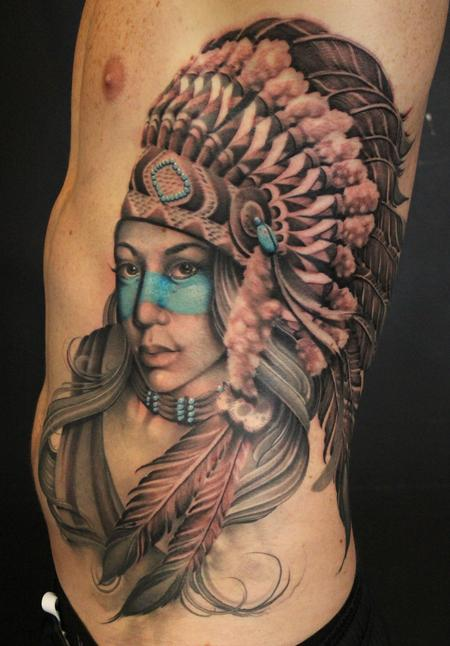 Large Original Native American Girl Tattoo