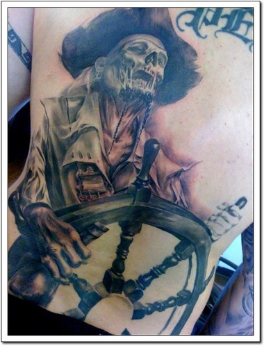 Large Original Pirate Skeleton Tattoo On The Back