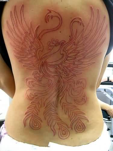 Large Outline Phoenix Tattoo On Back