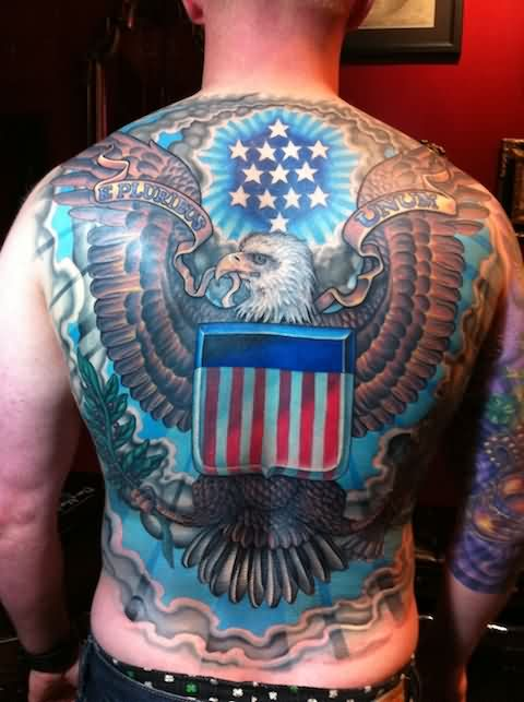 Large Patriotic Eagle Tattoo On The Back