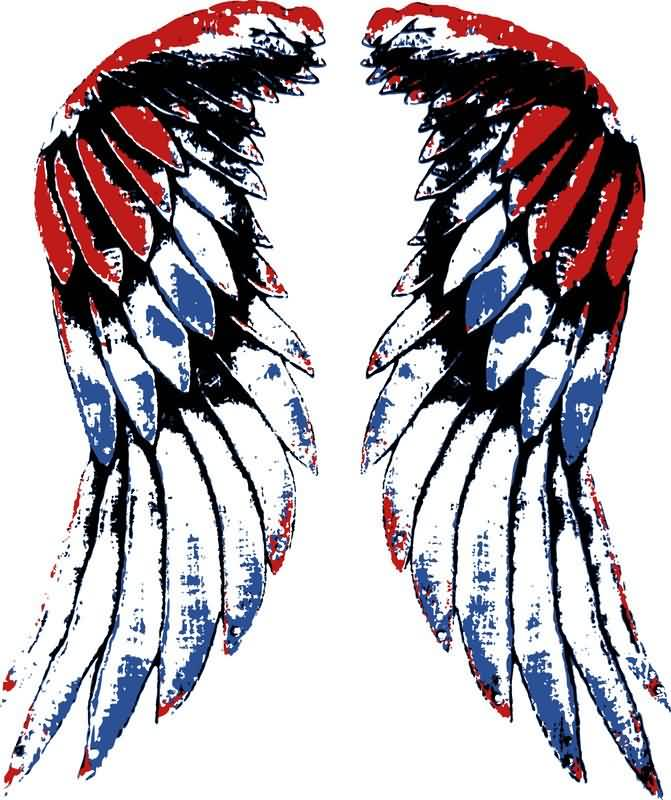 Large Patriotic Wings Tattoo Design