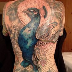 Large Peacock Tattoo On Entire Back
