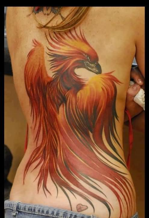 Large Phoenix And Tiny Heart Tattoos On Back