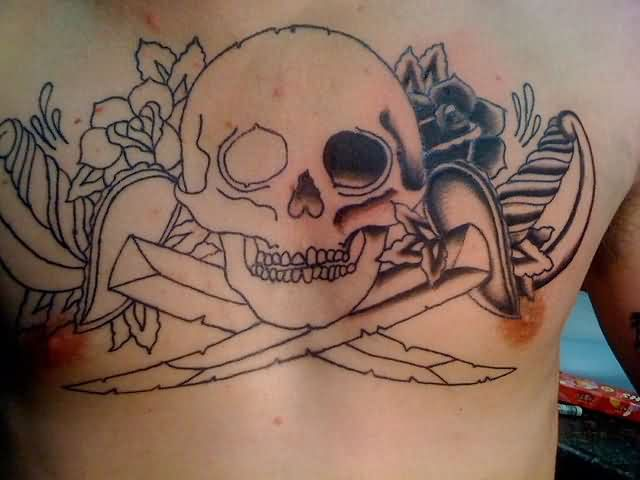 Large Pirate Skull And Roses Tattoos On Chest