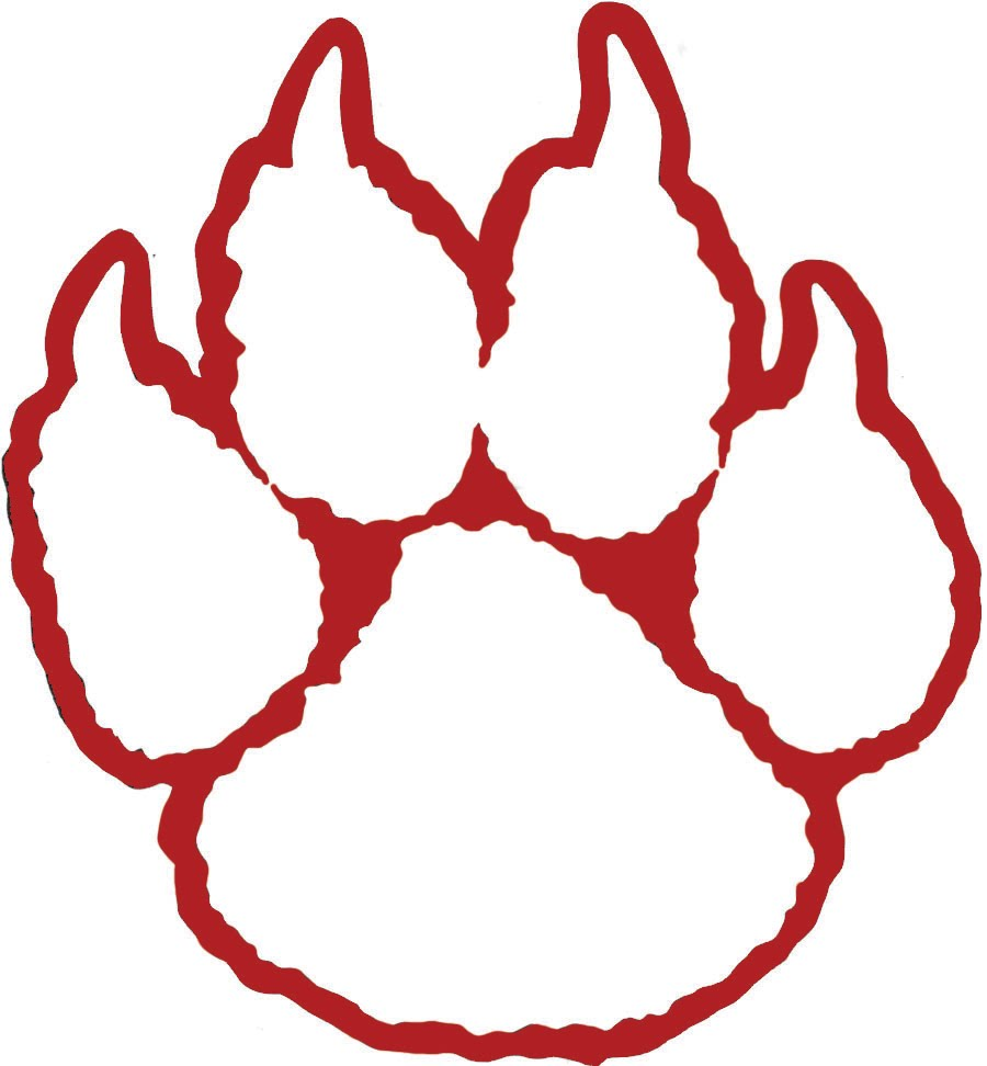 Large Red Outline Paw Tattoo Sample