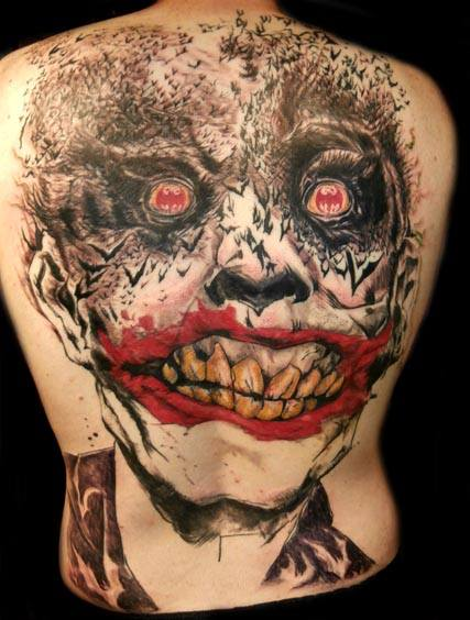 Large Scary Batman Joker Tattoo On Back