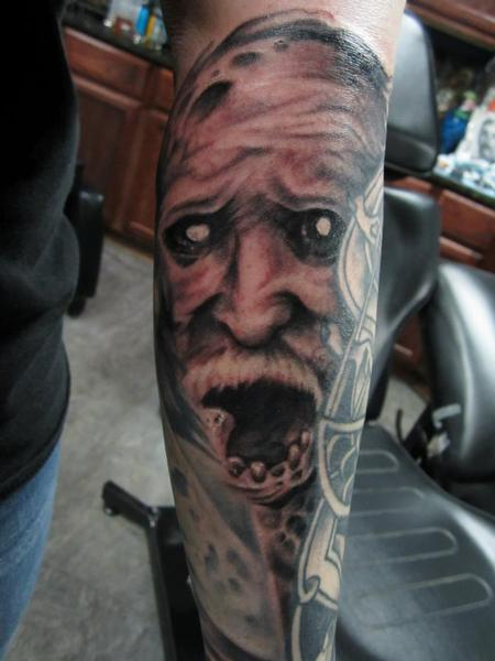 Large Scary Old People Tattoo On Arm