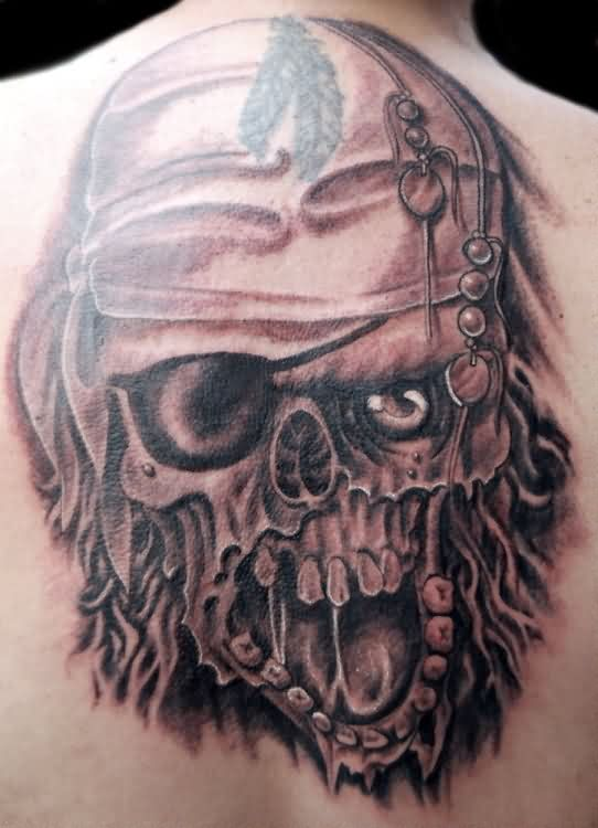 Large Screaming Pirate Skull Tattoo On Back