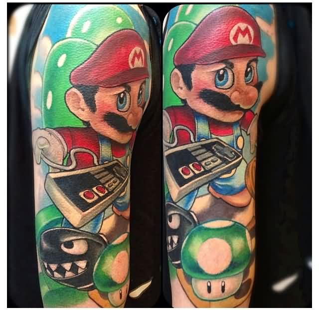 Large Super Mario Sleeve Tattoos