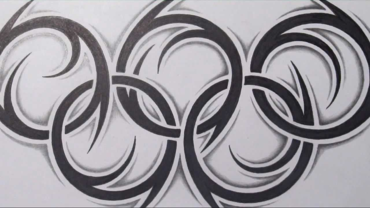 Large Tribal Olympic Logo Tattoo Sketch