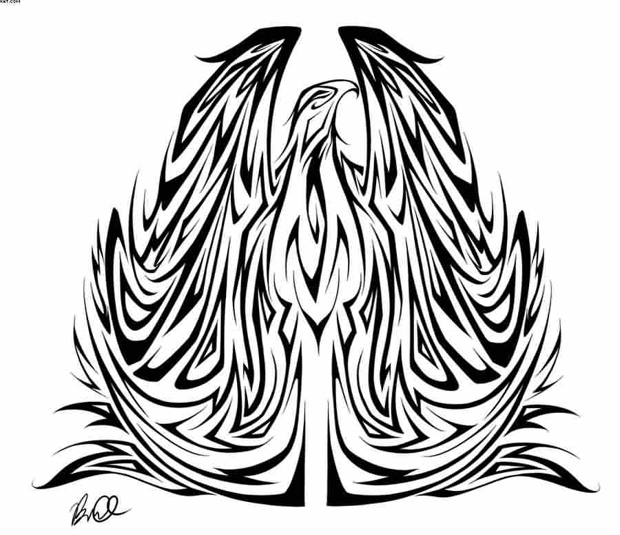 Large Tribal Phoenix Tattoo Stencil