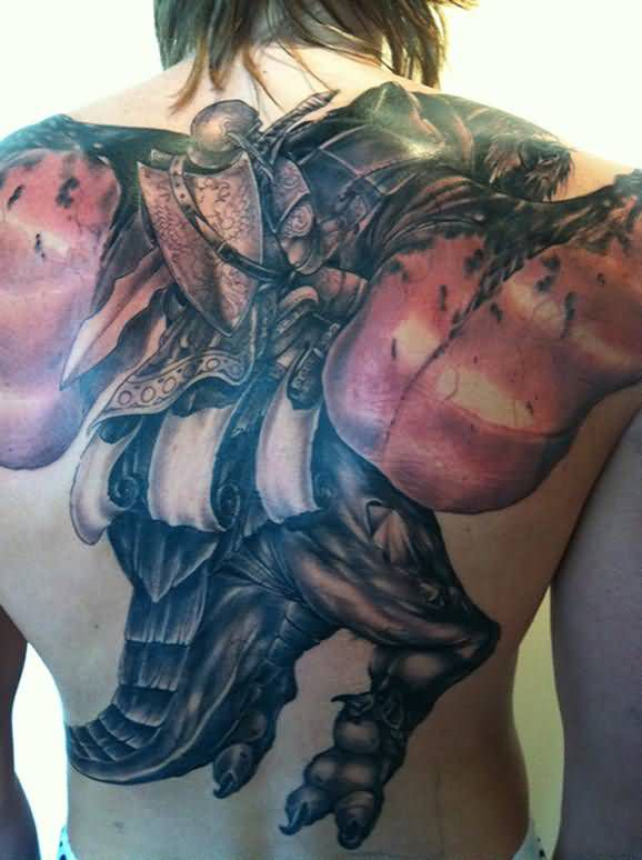 Large Video Game Tattoo On The Back