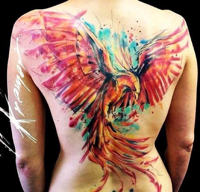Large Watercolor Phoenix Tattoo On The Back