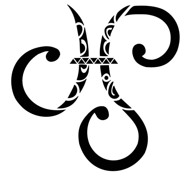 Large Zodiac Sign Pisces Tattoo Stencil