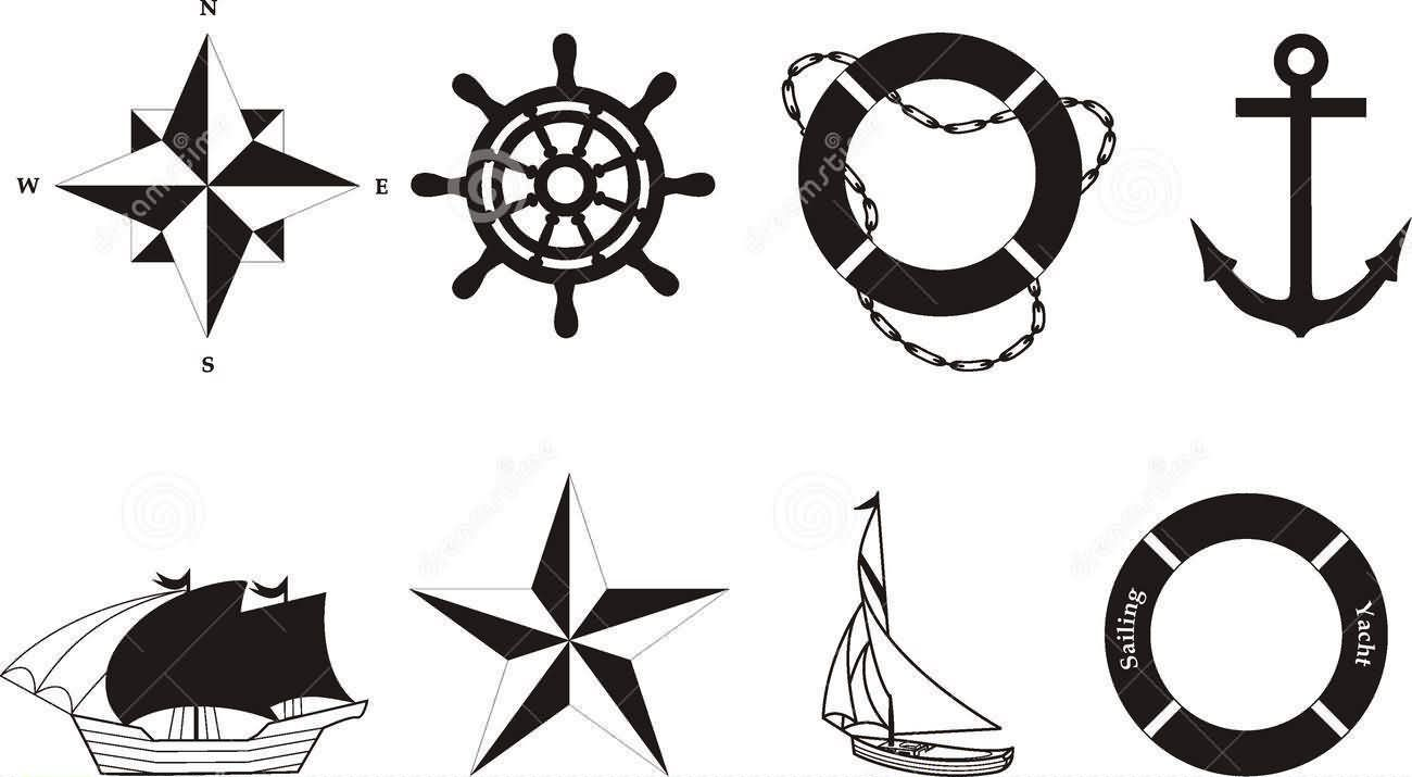 Latest Black And White Nautical Tattoos Sheet