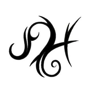 Latest Black Ink Pisces And Leo Tribal Sign Tattoo Stencil