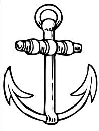 Latest Black Outline Anchor Tattoo Sample
